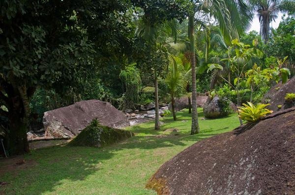 Jardim com cachoeira ao fundo :: Pousada Alarum - Paraty RJ